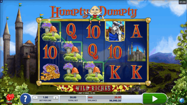 Характеристики слота Humpty Dumpty Wild Riches 3